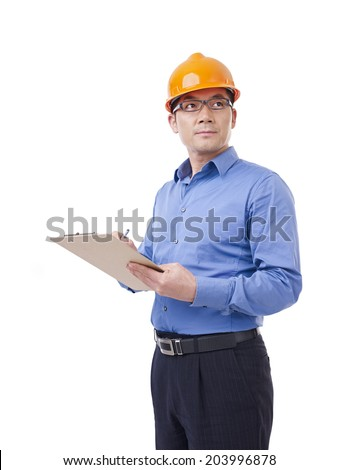 portrait of asian man with orange safety hat, isolated on white. - stock photo