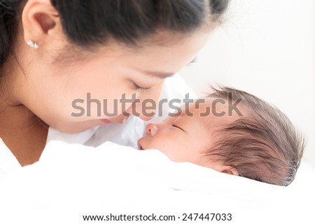 Portrait of asian mother and infant