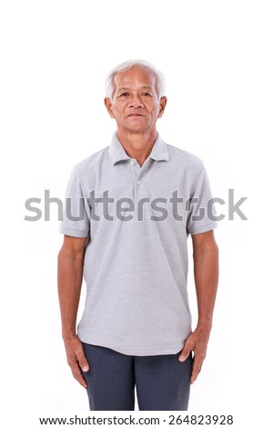 portrait of asian senior old man - stock photo