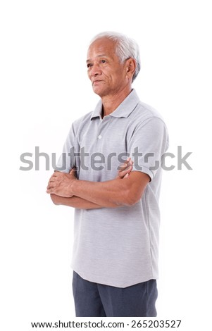 portrait of asian senior old man, arm crossing