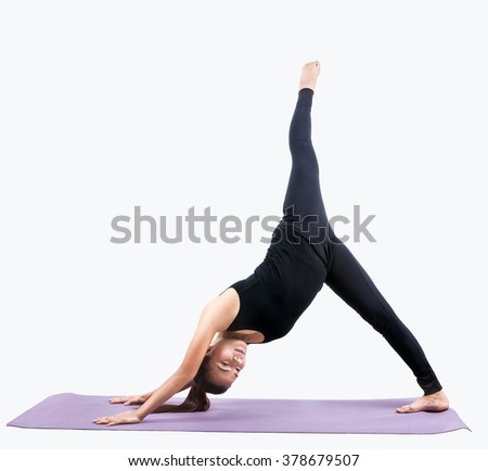 portrait of asian woman exercise playing yoga isolated white