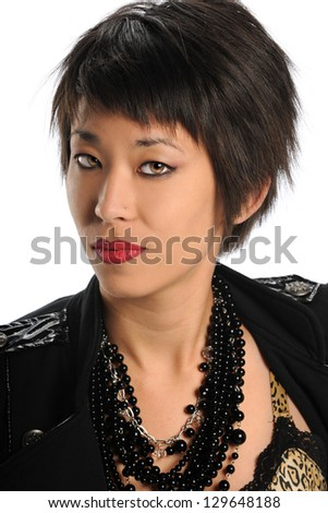 Portrait of Asian woman isolated over white background - stock photo