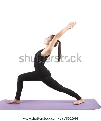 portrait of asian woman wearing black body suit sitting in yoga meditation position isolated white background - stock photo