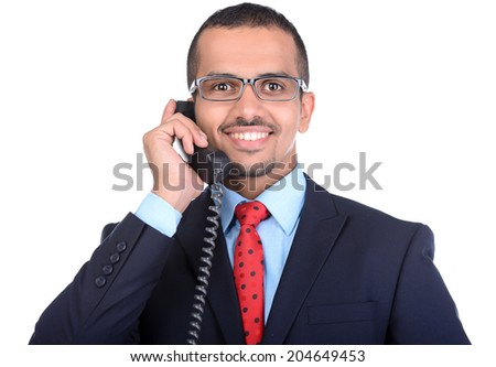 Portrait of Asian young businessman, talking on phone, isolated on white background