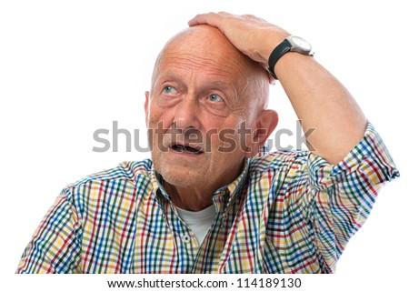 portrait of astonished senior man - isolated over white - stock photo