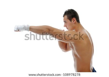 portrait of athletic boxer. Isolated on white background - stock photo