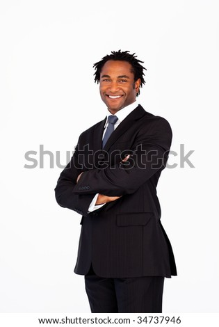 Portrait of attractive afro-american businessman with crossed arms - stock photo