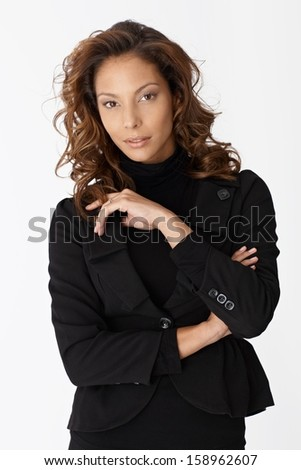 Portrait of attractive Afro-american businesswoman over white background.