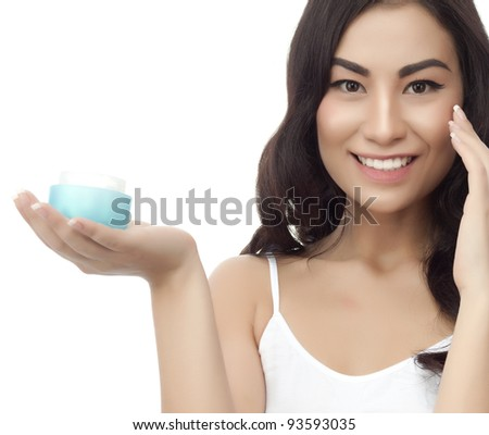 portrait of attractive asian smiling woman brunette isolated on white studio shot with cream