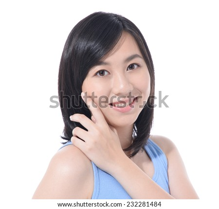 portrait of attractive asian smiling woman isolated - stock photo