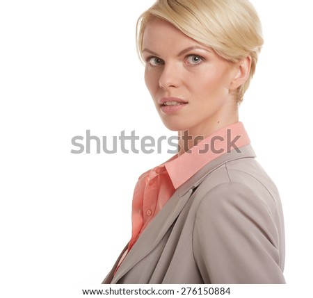 Portrait of attractive blond businesswoman with arms crossed isolated on white background - stock photo