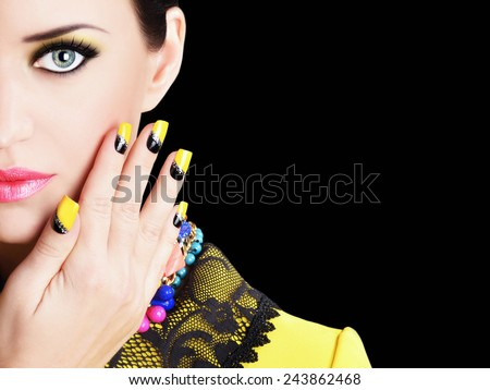 Portrait of attractive brunette . beauty perfect makeup and jewelry.  - stock photo