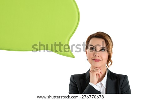 Portrait of attractive business woman thinking and looking up to blank bubble speech isolated on white - stock photo