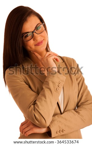 portrait of attractive business woman with glasses, isolated on white, studio - stock photo