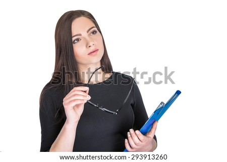 Portrait of attractive businesswoman in glasses with blue folder isolated on white background   - stock photo