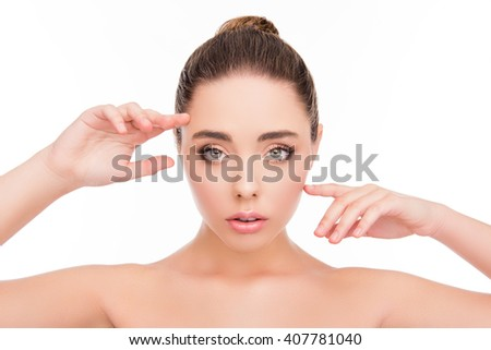 Portrait of attractive calm sensetive woman with perfect skin - stock photo