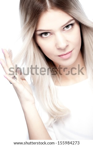 portrait of attractive caucasian girl with shiny blond hair