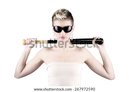 portrait of attractive caucasian girl with short hair holding baseball bat - stock photo
