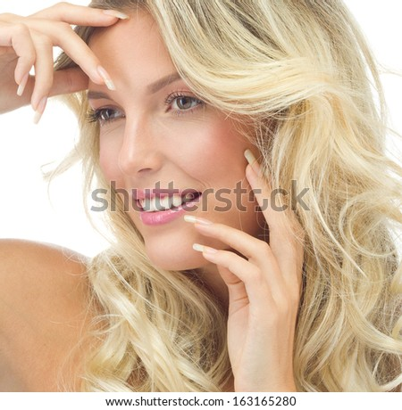 portrait of attractive  caucasian smiling woman blond isolated on white studio shot  lips toothy smile face long hair head and shoulders - stock photo