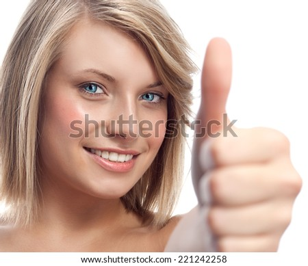 portrait of attractive  caucasian smiling woman blond isolated on white studio shot  lips toothy smile face hair head and shoulders looking at camera hand thumbs up - stock photo