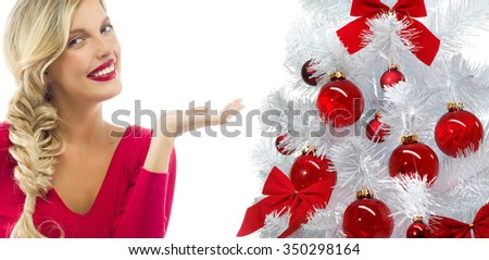 portrait of attractive  caucasian smiling woman blond isolated on white studio shot red  lips toothy smile face long hair head and shoulders looking at camera christmas tree red balls - stock photo