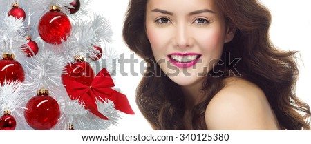 portrait of attractive  caucasian smiling woman brunette isolated on white studio shot christmas new year tree - stock photo