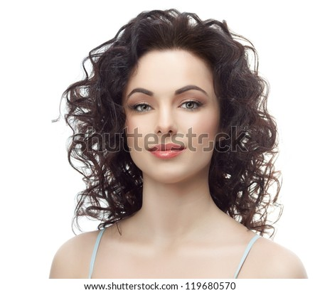 portrait of attractive  caucasian smiling woman brunette isolated on white studio shot head and shoulders face skin hand hair looking at camera brush makeup