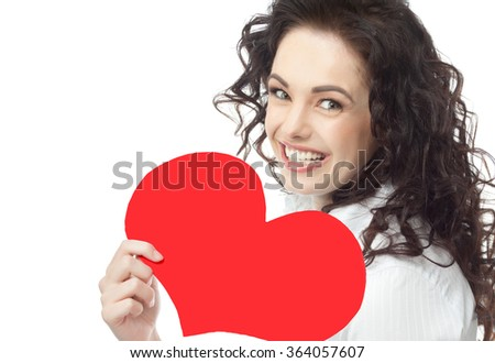 portrait of attractive  caucasian smiling woman brunette isolated on white studio shot red heart valentine's love