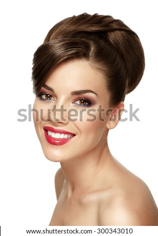 Portrait of attractive caucasian smiling woman brunette with hairstyle isolated on white, studio shot - stock photo