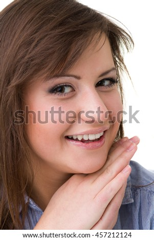 portrait of attractive caucasian smiling woman, isolated on white background - stock photo