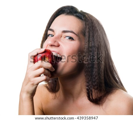 portrait of attractive caucasian smiling woman isolated on white background eating red apple