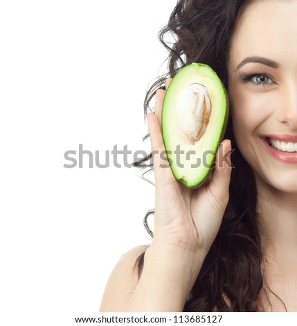 portrait of attractive  caucasian smiling woman isolated on white studio shot avocado