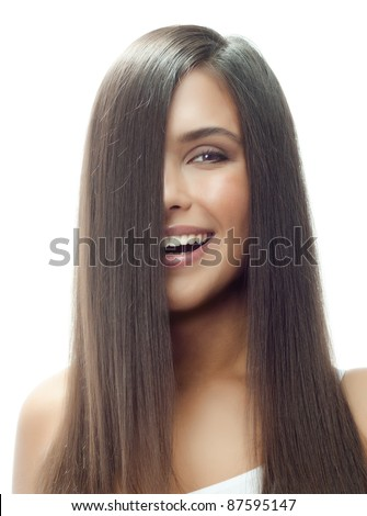portrait of attractive  caucasian smiling woman isolated on white studio shot long hair brunette - stock photo