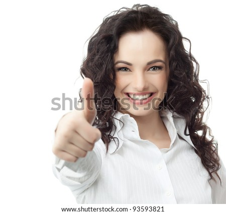 portrait of attractive  caucasian smiling woman isolated on white studio shot looking at camera thumb up