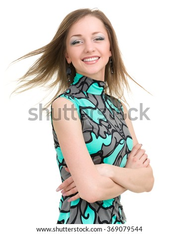 portrait of attractive caucasian smiling woman isolated on white with copyspace - stock photo