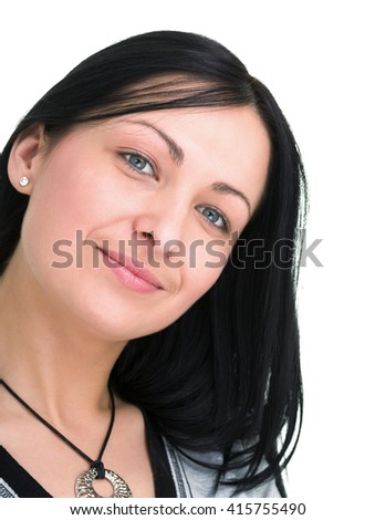 portrait of attractive caucasian smiling woman with copyspace - stock photo