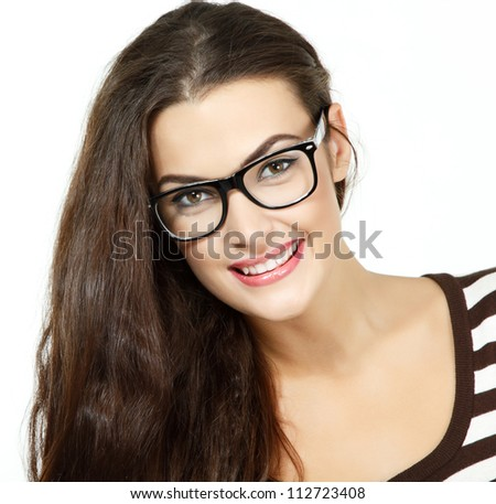 portrait of attractive caucasian smiling woman with glasses, isolated on white, studio - stock photo
