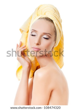 portrait of attractive caucasian smiling woman with towel - stock photo