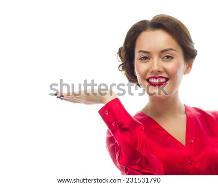 portrait of attractive  caucasian smiling young woman brunette, isolated on white , studio shot, red , toothy smile, face, looking at camera; hand,  - stock photo