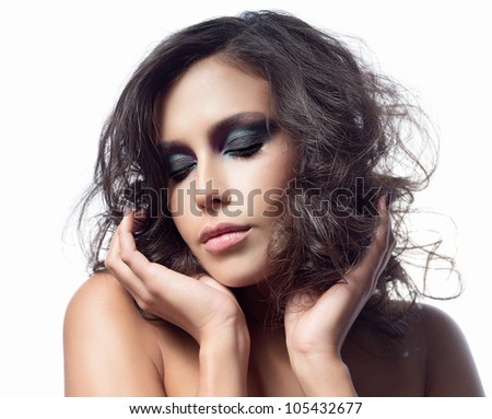 portrait of attractive  caucasian  woman brunette hair isolated on white studio shot   face makeup skin hands eyes