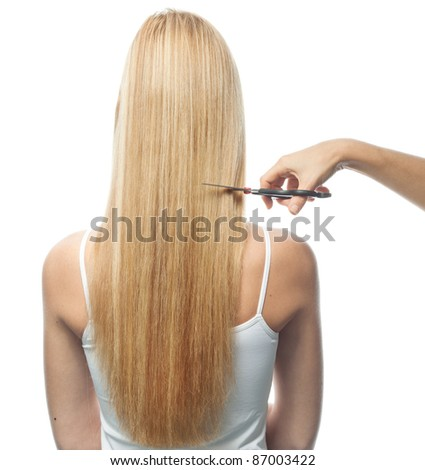 portrait of attractive  caucasian woman  with long blond hair isolated on white studio shot back