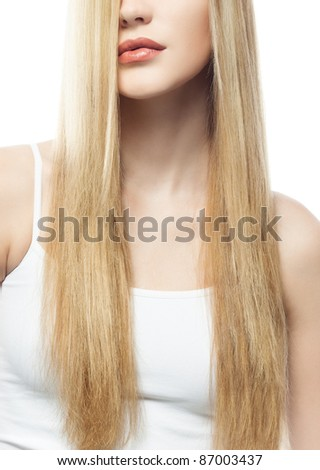 portrait of attractive  caucasian woman  with long blond hair isolated on white studio shot eyes closed - stock photo