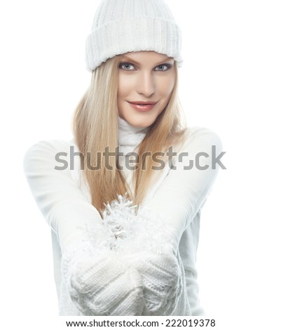 portrait of attractive  caucasian woman  with long blond hair tn warm clothing  isolated on white studio shot looking at camera - stock photo