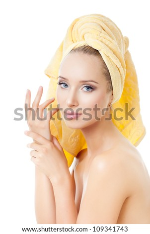 portrait of attractive caucasian woman with towel