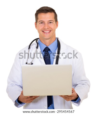 portrait of attractive doctor using laptop isolated on white