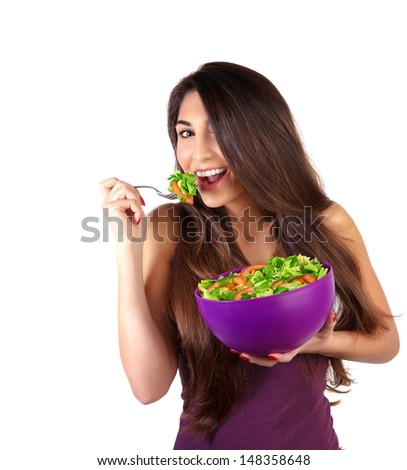 Portrait of attractive female eat salad isolated on white background, body care, loss weight, fresh vegetables, organic nutrition  - stock photo