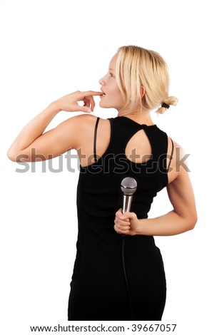Portrait of attractive girl from behind holding her mic
