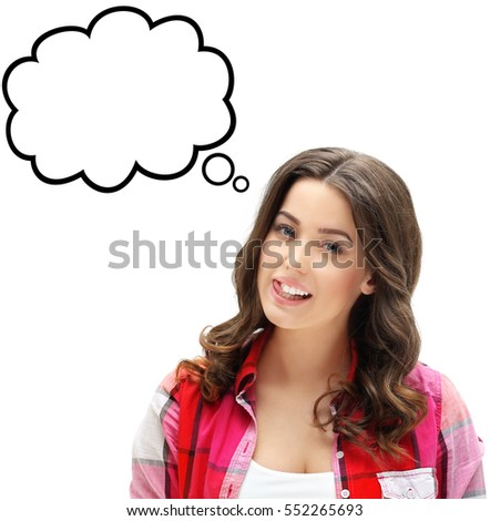 Portrait of attractive girl sticking out her tongue.Young woman with speech bubble