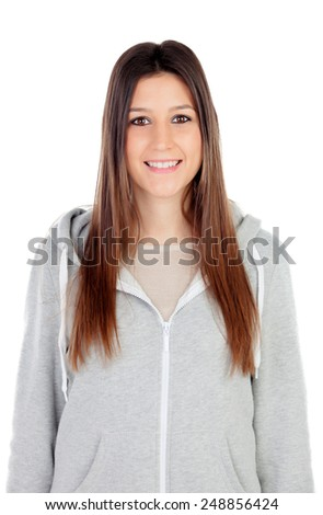 Portrait of attractive girl with brown eyes and sportswear isolated on a white background - stock photo