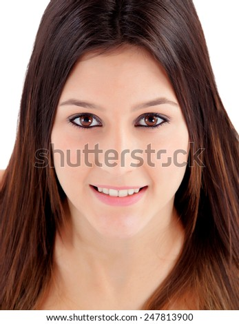 Portrait of attractive girl with brown eyes isolated on a white background - stock photo